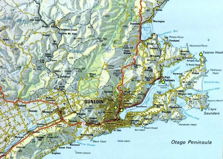 Map Of Dunedin New Zealand.New Zealand 2003